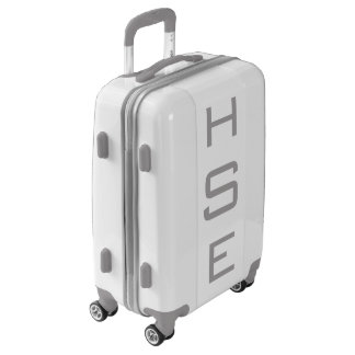 SMALL White + Gray Personalized Monogram Carry On Luggage