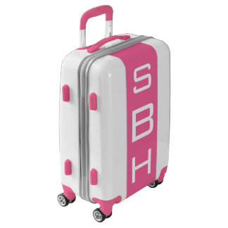 SMALL White + Pink Monogrammed Carry On Luggage