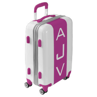 SMALL White + Purple Monogrammed Carry On Luggage