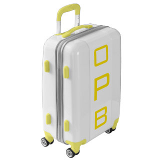 SMALL White+Yellow Personalized Monogram Carry On Luggage