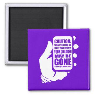 Smart Phone Caution Square Magnet