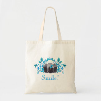 Smile! Camera With Blue Leaves And Butterflies Budget Tote Bag