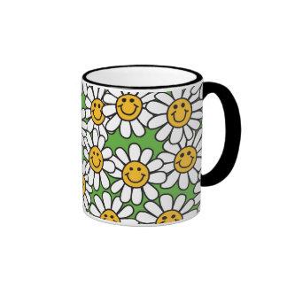 Smiley Daisy Flowers Pattern Ringer Mug