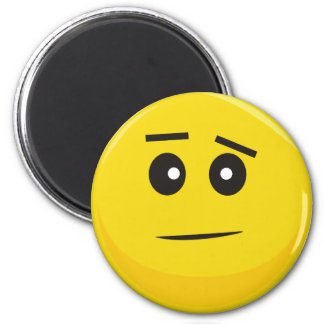 Smiley Face (Confused) 6 Cm Round Magnet