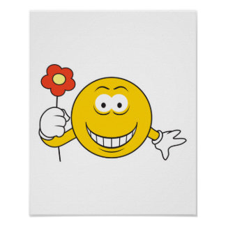 Smiley Face with Flower Poster