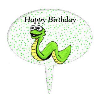 Smiling Cartoon Green Yellow Snake Happy Birthday Cake Topper