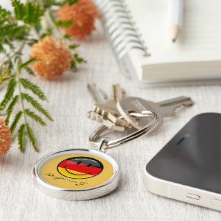 Smiling German Flag Silver-Colored Round Key Ring
