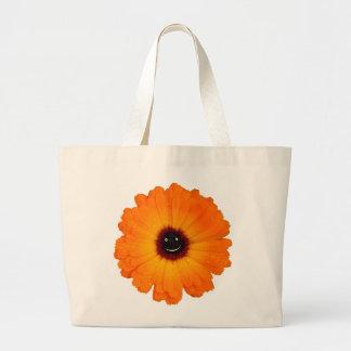 Smiling Orange Flower Jumbo Tote Bag