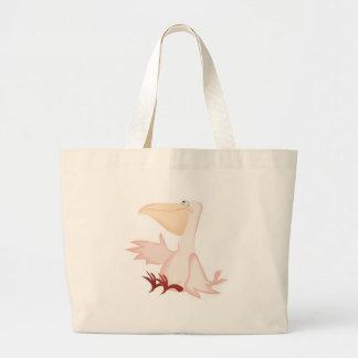 smiling pink pelican jumbo tote bag