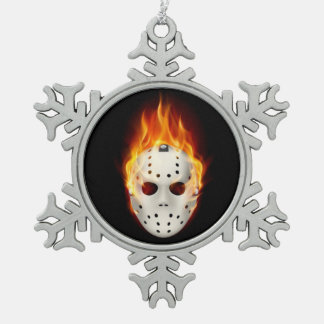 SMOKIN' GOALIE PEWTER SNOWFLAKE DECORATION