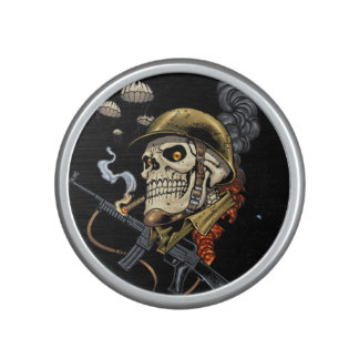 Smoking Skull with Helmet, Airplanes and Bombs Speaker