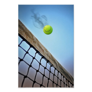 Smoking Tennis Ball Flying Over Net Poster