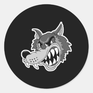 snarling grey wolf face round sticker