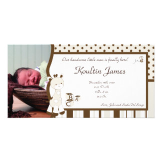 Snicker Doodle Giraffe Photo Birth Announcement Personalised Photo Card