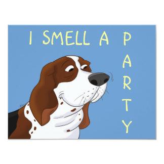 Sniffing Cartoon Basset Hound 11 Cm X 14 Cm Invitation Card