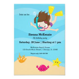 Snorkeling party 13 cm x 18 cm invitation card