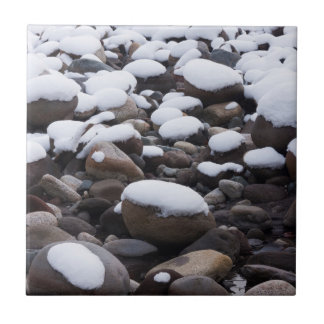 Snow And Rocks, Mt. Rainier National Park Small Square Tile