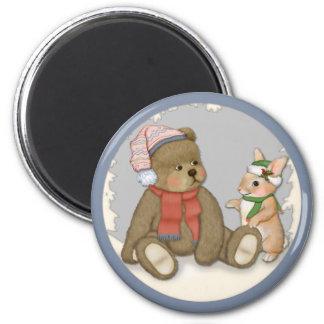 Snow Christmas Teddy and Bunny 6 Cm Round Magnet
