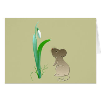 Snow drops and cute mouse greeting card