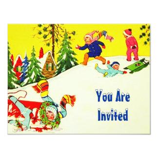 SNOW FUN WINTER BIRTHDAY PARTY INVITATION SNOWMAN