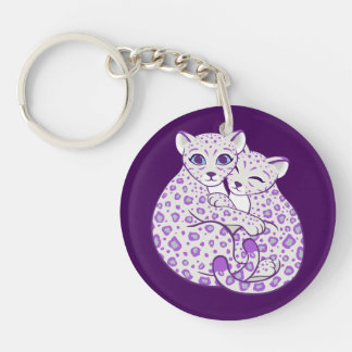 Snow Leopard Cubs Cuddling Art Double-Sided Round Acrylic Key Ring