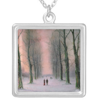 Snow Scene-Wanstead Park Square Pendant Necklace