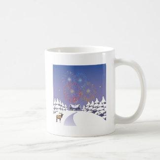 Snow Scene With Fireworks And Deer. Basic White Mug
