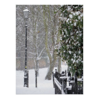 Snow Scene with Old Street Light Poster