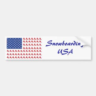 Snowboarder-Patriotic-USA-Flag Bumper Sticker