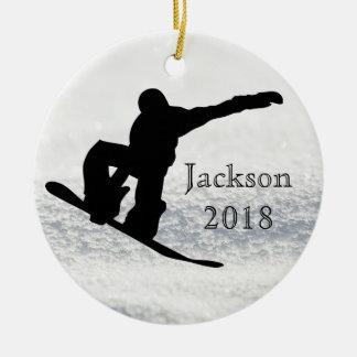 Snowboarding Christmas Black on Snow Round Ceramic Decoration