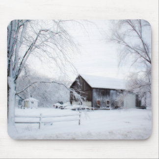 Snowed in Christmas Barn Mouse Pad
