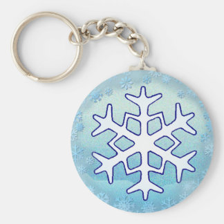 SNOWFLAKES 2  by SHARON SHARPE Basic Round Button Key Ring
