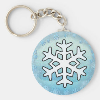 SNOWFLAKES  by SHARON SHARPE Basic Round Button Key Ring