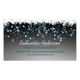 Snowflakes on black event planner pack of standard business cards