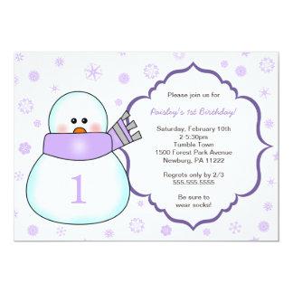 Snowman Birthday Party Invites / lavender girl