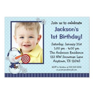 Snowman Blue Winter Photo Birthday 13 Cm X 18 Cm Invitation Card