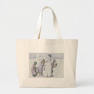 Snowman Children Playing Snow Field Jumbo Tote Bag