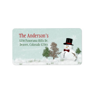 Snowman Christmas Holiday Xmas Address Mailing Address Label