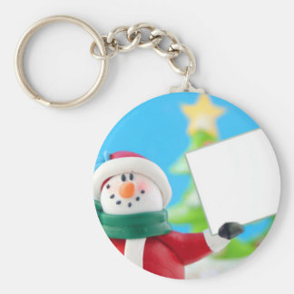Snowman holding a blank sign basic round button key ring