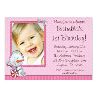 Snowman Pink Winter Photo Birthday 13 Cm X 18 Cm Invitation Card