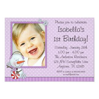 Snowman Purple Winter Photo Birthday 13 Cm X 18 Cm Invitation Card