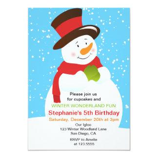 Snowman Winter Wonderland Birthday Invitation
