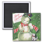 Snowman with Dog Square Magnet