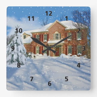 Snowy Landscape and Home Wallclock
