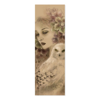 Snowy Owl Fantasy Illustration Bookmark Pack Of Skinny Business Cards