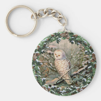 SNOWY OWL & WREATH by SHARON SHARPE Basic Round Button Key Ring