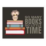 So Many Books So Little Time Cute Owl Book Nerd Postcard