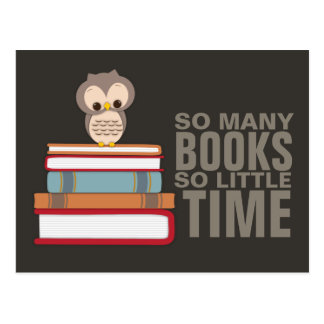 So Many Books So Little Time Cute Owl Book Nerd Postcard