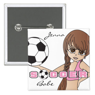 Soccer Ball Sports Girl | Pink 15 Cm Square Badge