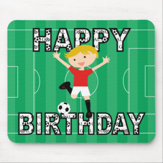 Soccer Birthday Boy 1 Red and White Mouse Pad